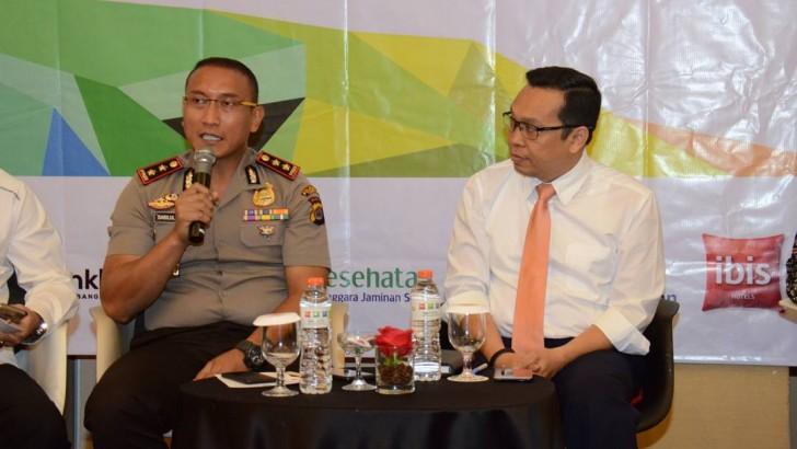Kapolres Kota Tangerang Memaparkan Materi Seputar Penanganan Pidana Pelanggaran K3 dan Langkah Kepolisian dalam Mengantisipasi Kecelakaan Kerja.