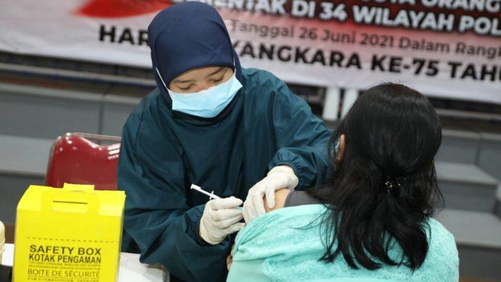 Kapolresta Tangerang Tinjau Kegiatan Serbuan Vaksinasi Nasional TNI-POLRI dalam Rangka HUT Bhayangkara Ke-75 Di Polsek Balaraja