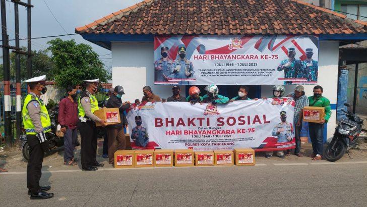 Gelar Baksos Sambut Hari Bhayangkara, Polresta Tangerang Ingatkan Masyarakat Tertib Prokes